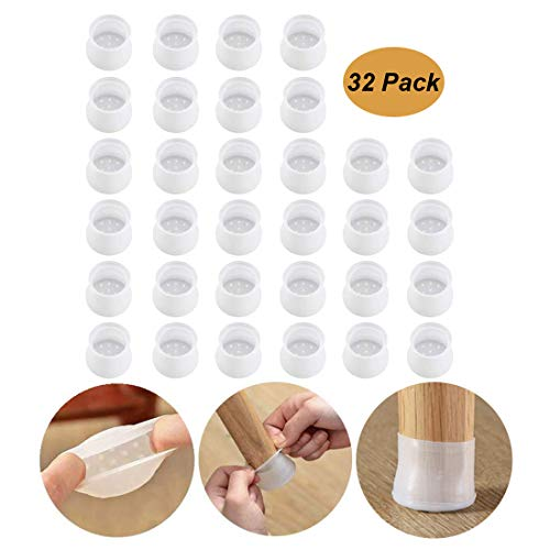 32pc Silicone Furniture Chair Legs Caps - Furniture Leg Silicon Protection Covers - Anti-Slip Table Feet Pad Floor Protector - Foot Protection Bottom Cover Prevents Scratches and Noise