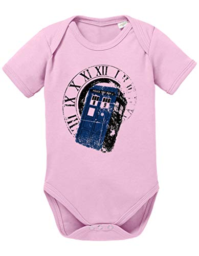 Dr Rom Doctor Baby Strampler Who Bio Baumwolle Body Jungen & Mädchen 0-12 Monate Tv Serie, Größe:62/2-3 Monate, Farbe:Rosa