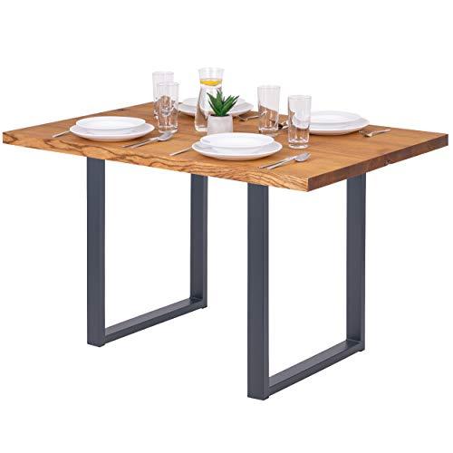 LAMO Manufaktur Schreibtisch Esstisch Massivholz Küchentisch 120x80x76 cm, Loft, Esche Rustikal/Anthrazit, LEG-01-A-003-7016L