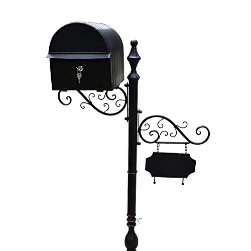 Afsluitbare mailbox Mailbox Brievenbus Post Box Home Aanbiedingen Steel European Style Iron Art Villa Landing Postbox Wedding Props Indicator Roestvrij staal mailbox (Color : C)