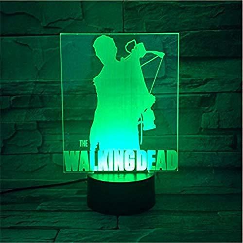 3D Visual Led3D LED Luz de la Noche Caminando Muerto 7 Cambio de Color USB Botón Táctil Iluminación Led Como Niños Halloween Juguetes RegalosBedsideWith Interruptor Remoto