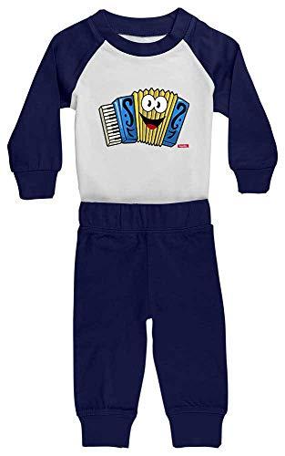 Hariz Baby Pyjama accordéon pour enfant Motif amusant Blanc/bleu marine 24 à 36 mois