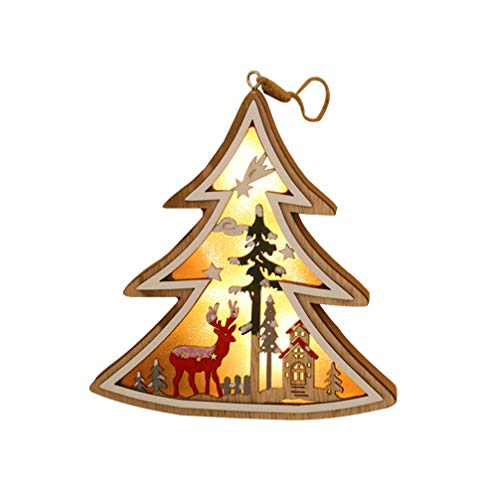 OSALADI LED Christmas Tree Ornament Light Hanging Pendant Wooden Christmas Ornament Wedding Home Decor (without Battery)