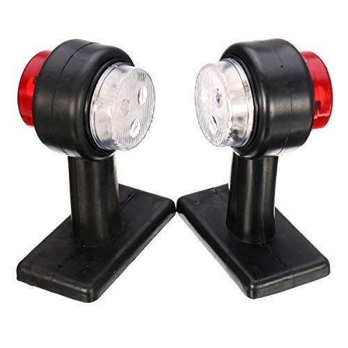 ILS – Par de luces LED de gálibo de doble cara, color rojo y blanco para caravana, remolque para camión, 12 V 24 V