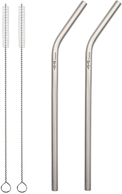 Amazon.com: TiTo Titanium straw supper strong and ultralight Drinking straw with cleaning brush Dia 7mm X 0.4mm with bent and straight two shape Titanium alloy straw (pack of 2) (2 bent): Kitchen