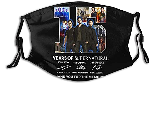 15 Jahre Supernatural TV Show Fashion Unisex Máscara de tela lavable y reutilizable para proteger la cara, pasamontañas para adultos y deportes al aire libre con 2 filtros