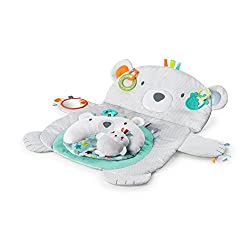 Made for big bear hugs and creature comforts Props up to help make tummy time easier Includes matching prop pillow for additional support Fits well in small spaces and when traveling Baby-safe mirror, rattle and toy attachments