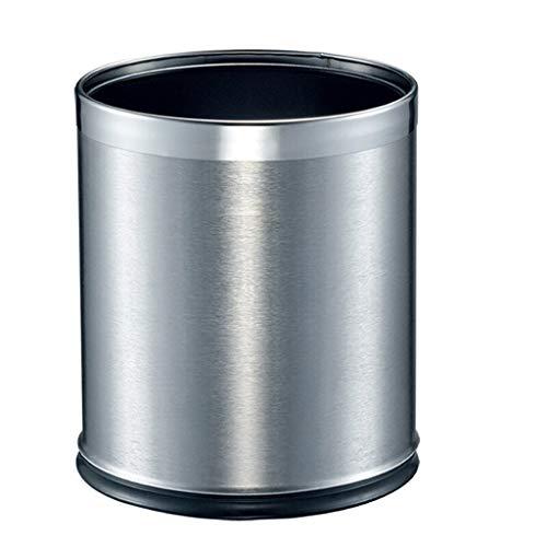 Cubo de Basura Basura de la casa Can sin Tapa, de Acero Inoxidable de Doble Capa Bote de Basura 10L / 2.6 galones Cubo de Basura for Interior, Exterior o el Uso Comercial de Plata/marrón Papelera