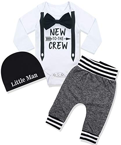 Newborn Baby Boy Clothes New to The Crew Letter Print Romper+Long Pants+Hat 3PCS Outfits Set 3-6 Months