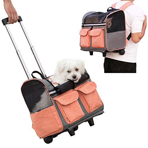 Louvra Trasportino per Animali Domestici, Carrello Confortevole per Cani e Gatti,Trolley Zaino per Viaggio in Treno e Aereo
