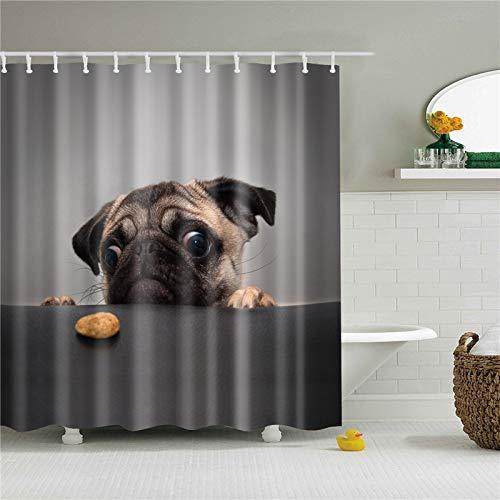 KTTO Tiere H& Bilder Duschvorhänge für Badezimmer Hochwertige wasserdichte Bad Vorhang Set Polyester Stoff Bad Dekor 180X180cm