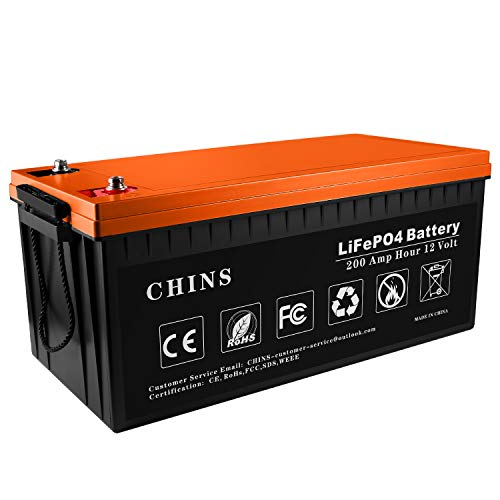 12V 200Ah LiFePO4 Deep Cycle Battery, Built-in 200A BMS, 2000-5000 Cycles, Each battery Can Support 2560W Power Output, Perfect for RV, Caravan, Solar, Marine, Home Storage and Off-Grid