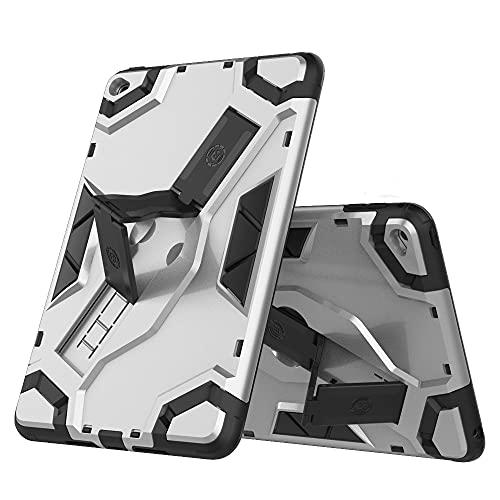 SENSBUN Funda para tablet iPad Mini (7.9'') (2015) (4ª generación), resistente armadura suave TPU y cubierta de PC dura con correa antideslizante de mano y soporte a prueba de golpes, Siliver