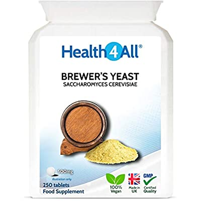 Brewers Yeast 500mg 250 Tablets (V) Saccharomyces cerevisiae, Natural Source of B Vitamins. Vegan. Made by Health4All
