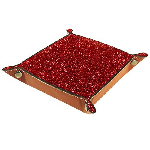Yitian Bandeja de cuero PU joyería de cuero Catchall rojo Glitter lentejuelas patrón para cambio joyería clave teléfono relojes dados elegancia suave cuero reciclable