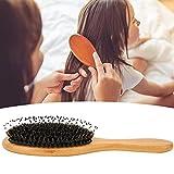 Cepillo de pelo con mango de madera, conveniente para reducir la vibración, cepillo de pelo de madera, masajear el cuero cabelludo para el cuidado del cabello