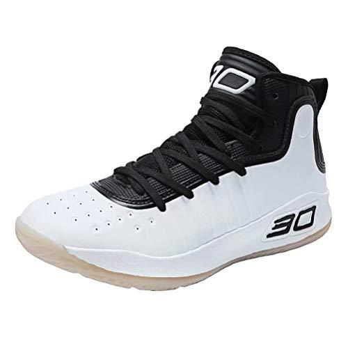Zapatos de Baloncesto Hombre Alto Antideslizante Zapatillas Altas Transpirable Zapatos Deportivos Aire Libre Ligeros Zapatos para Correr Transpirable Blanco Negro 43