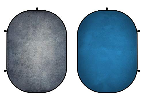 KateHome PHOTOSTUDIOS 5×7ft(1,5×2m) Panel de Doble Cara Abstracción Gris Fondo Azul Torsión...