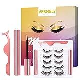 VESHELY Magnetic Eyelashes with Eyeliner Kit, Natural Short Magnetic False Lashes and Magnetic Eyeliner 2021 Upgrade - Easy to Wear