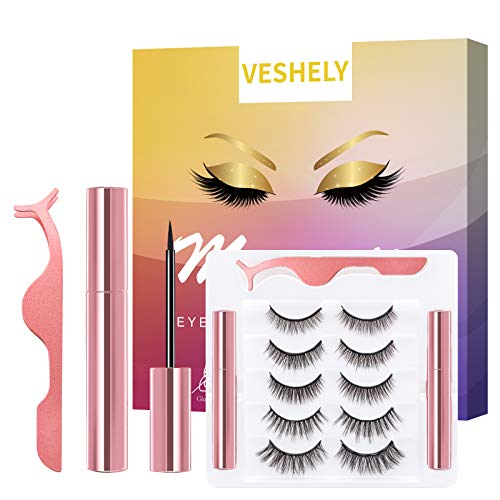 VESHELY Magnetic Eyelashes with Eyeliner Kit, Natural Short Magnetic False Lashes and Magnetic Eyeliner 2021 Upgrade - Easy to Wear