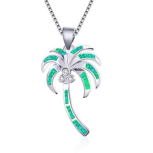 SWAOOS Collar de Cadena Larga de ópalo Verde Azul, Collar con Colgante de árbol de Coco Femenino de Lujo, Collares de Boda de Color Plateado Vintage para Mujer de 45 cm