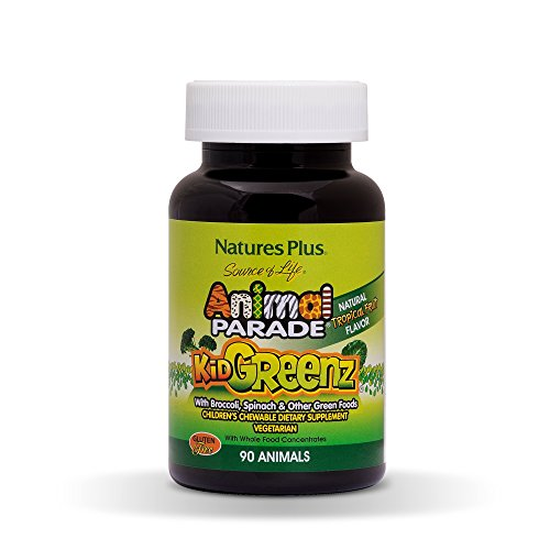 Natures Plus Djurparad livskälla KidGreenz barns tuggleksaker – naturlig tropisk fruktsmak – 90 djurformade tabletter – kosttillskott – vegetarisk, glutenfri – 90 portioner
