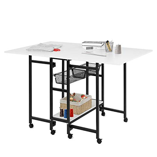 HOMFY Foldable Cutting Table Adjustable Home Hobby Table with Storage for Adult Lockable Wheels