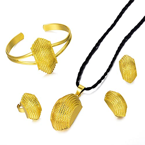xtszlfj 24 K Color Oro Dubai Nigeria Conjunto de Joyas de Boda Collar/Colgante/Pendiente/Anillo/Brazalete Africano/Eritrea Gril Regalo