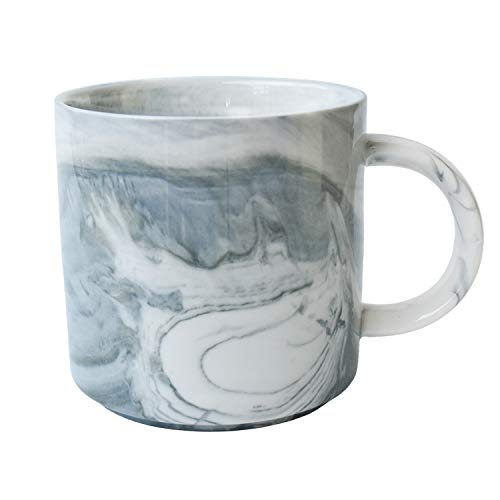 Marbling Ceramic Coffee Mug, Tea Cup for Office and Home, 13 Oz, Dishwasher and Microwave Safe (Gray, 1)