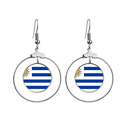 Uruguay Nationale Vlag Zuid-Amerika Land Oorbellen Dangle Hoop Sieraden Drop Cirkel