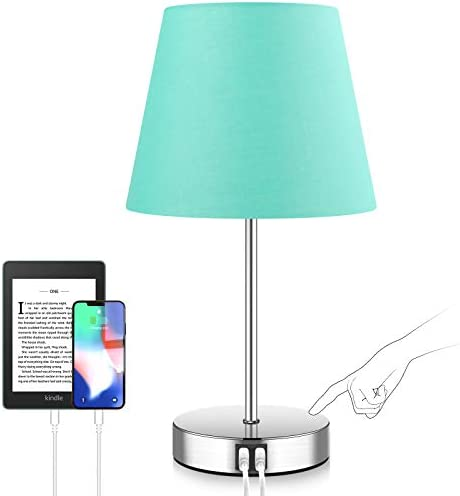 Touch Control Beside Lamp Teal Aqua LED Bedside Nightstand Lamp with 2 USB Fast Charging Ports product image
