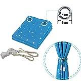 BGment Vorhänge Blickdicht Sterne mit Ösen Gardine Thermo isoliert für Baby, Kinderzimmer,Blau Verdunkelungsvorhänge 1 Paar (2X H 228 X B 117cm,Blau) - 5