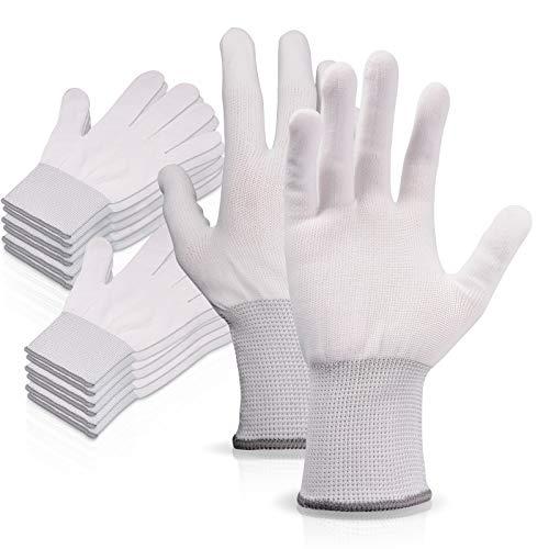 EHDIS Vinyl Wrap Gloves Nylon White Working Gloves Labor Non-slip PC Building Gloves / 6 Pairs