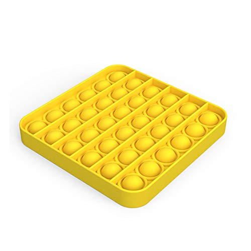Push Pop Bubble Fidget Sensory Toy, Premium Silicone Anxiety Stress Reliever Toys for Kids Adults BPA Free Durable (1,Yellow Square)