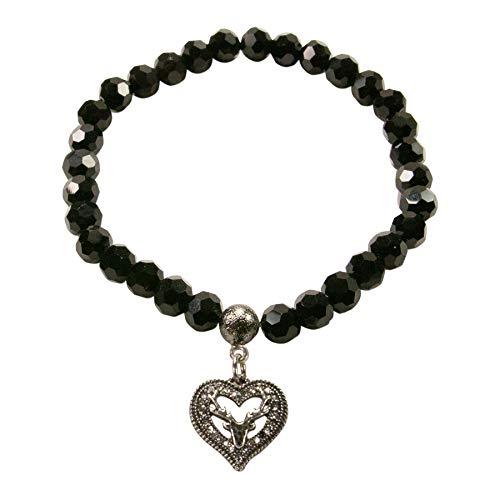 Alpenflüstern Perlen-Trachten-Armband Strassherz Hirsch klein - Damen-Trachtenschmuck, elastische Trachten-Armkette, Perlenarmband schwarz DAB064