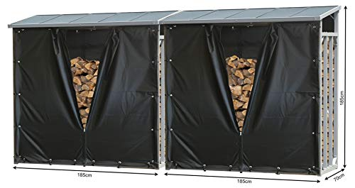 QUICK STAR 2 Stück Aluminium Kaminholzregal XXL 185 x 70 x 185 cm mit Wetterschutz Garten Kaminholzunterstand 4,6 m³ Kaminholzlager Stapelhilfe Aussen
