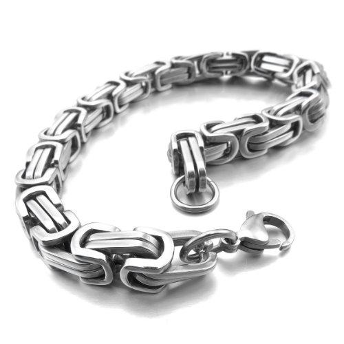 MunkiMix 8mm Königskette Herren Armband Edelstahl Byzantinisch Kette Armband Männer Armbänder Für Damen Jungs (Silber Farbe, 230mm Längen)