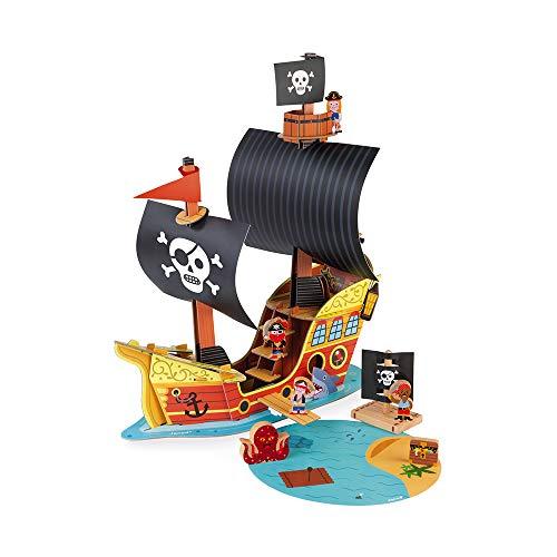 Barco pirata Story - 7figuritas de madera - Juguete de imaginación - Piratas y tesoros - A partir de 3años