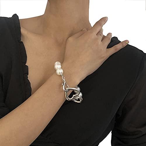 QFSLR Pulsera De Perlas Pulseras para Mujer Pulsera Corazón Moda Pulsera Mujer Pulsera De La Amistad, Plata