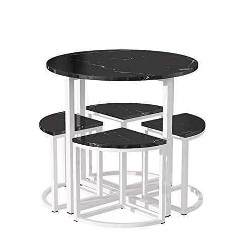 Prosty stół do negocjacji rekreacyjnych i grupa krzeseł stolik kawowy i krzesło recepcyjne i krzesło nowoczesny mały okrągły stół i krzesło (kolor: biały pulpit Czarna rama)