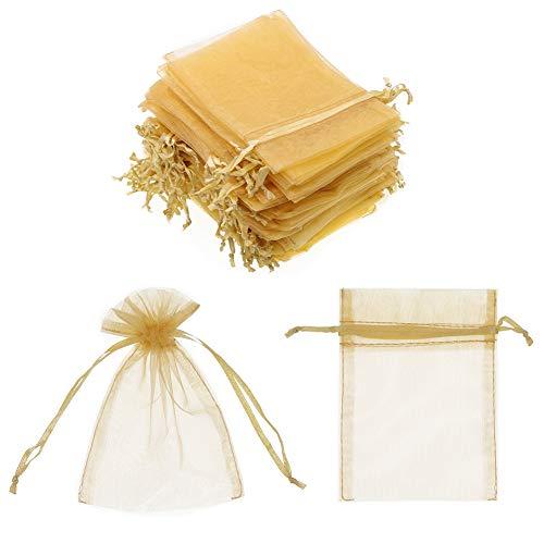SumDirect 100 Pezzi 10 x 15 cm Un Cordoncino Sacchetti in Organza Una Festa di Natale Favore Borse Regalo d'oro