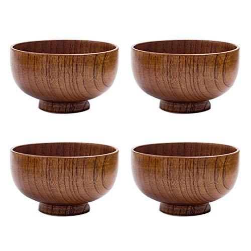 Japanische Reisschüssel, Holz-Salatschüsseln – 4er-Set, moderne runde Form, langlebiges Hartholz, Servier- und Vorbereitungsschüssel für Salate, Suppen, Müsli, Obstschale und mehr