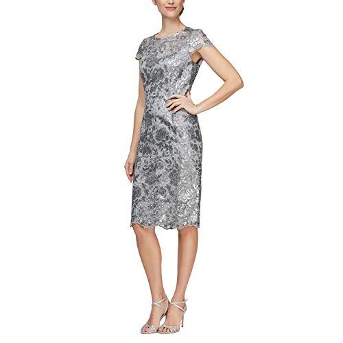 Alex Evenings Women's Short Shift Knee Length Scoop Neck Dress (Petite & Regular), Silver Illusion, 16