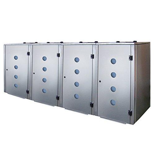 Mülltonnenbox Edelstahl, Modell Eleganza Circ als Viererbox für 240 Liter Tonnen