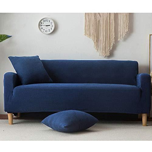 JPL Funda gruesa para sofá de 1 2 3 plazas de terciopelo de felpa para sofá de fácil ajuste, tela elástica en forma de L, protector de muebles, azul oscuro, 3+3 plazas