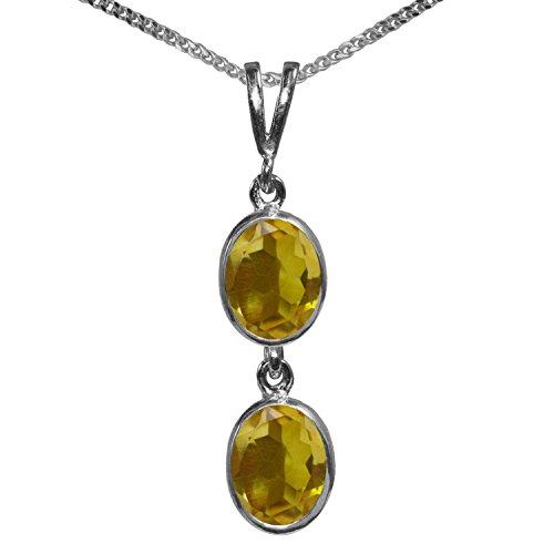 BJC® 925plata de ley citrino Natural doble Drop Oval Colgante Solitario 3.00ct...