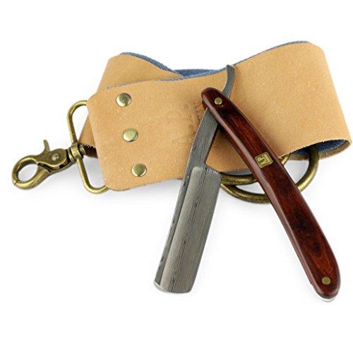Rasiermesser mit Damast-Klinge und Mahagoni Holzgriff, Rasierseife, Rasierpinsel Abbildung 3