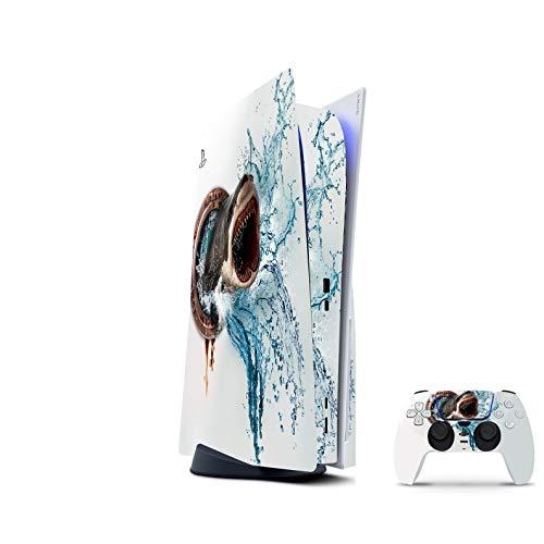 PS5 Skin Console Controllers De 46 North Design, Misma Calidad Que Las Calcomanías De Coche, Tiburón Megalodon Océanos Mar, Alta Calidad, Duradera, Compatible Con PS5 W/Disk, Fabricado En Canadá