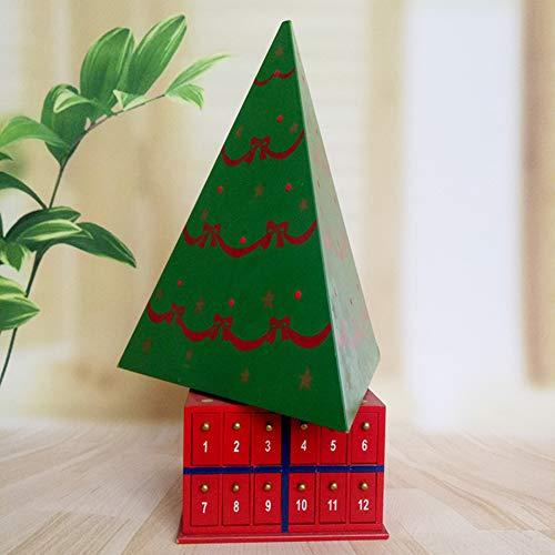 Calendario de Adviento de Madera Cuenta Atrás de 24 días hasta Navidad con Cajoncitos Árbol de Navidad Giratorio Decoración Tradicional Regalo de Festival