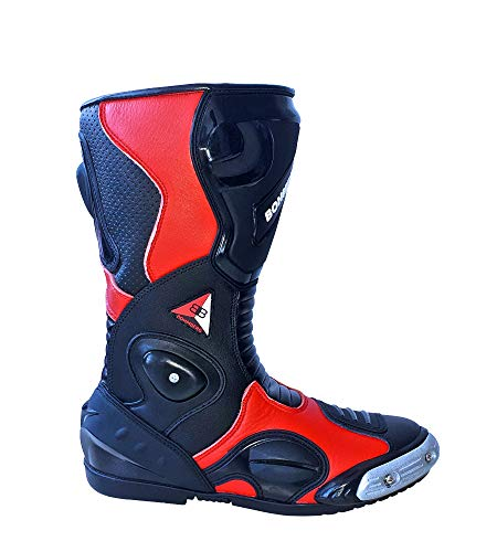 Bohmberg Premium Stivali Da Moto, Stivali Sportivi in pelle, Scarpe da moto per uomo, pelle idrorepellente e robusta con protezioni rigide applicate (Rosso, 44)